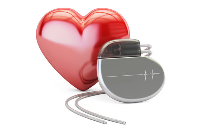 Artificial cardiac pacemaker with red heart, 3D rendering isolated on white background